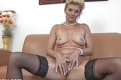 Platinum-blonde Grandmother plays With Her humid labia