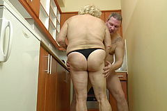 Big titted Hungarian Grandma Kitti pounds in the Kitchen