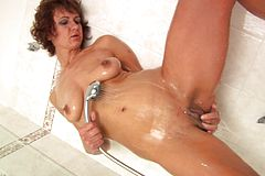 Mature mummy takes a Bathroom And plays with Her Cootchie