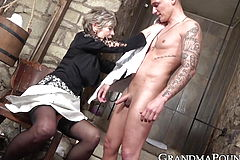 Cum Tonguing grannie Drinks boy penis vigorously