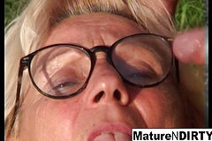 Light haired grannie Gets some jizz On Her Glasses
