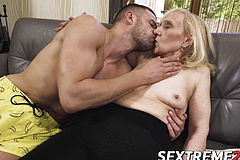 Nympho Grannie tempts youthfull man And munches his Super fucking hot jizz