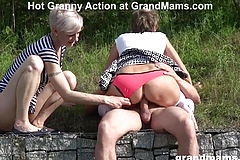 Two uber sexy Grandmas Are sucking the Life out of a lad