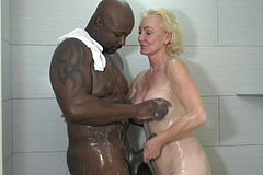 Blonde Grandma Shower down With BBC