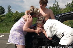 Naughty Grandmas fuck young men until cumming in public