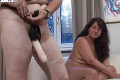 Stud Gets screwed With a strap dildo by naughty grandmothers