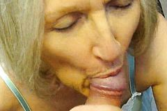 Nasty Cum slut Sue palmer Sucking Cock and using Toy
