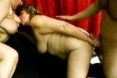 Two insatiable Mature plumpers Getting drilled hard by a younger guy