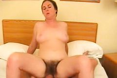 Hairy Brunette Wife with lovely boobs Gets Hammered all Over the Bed