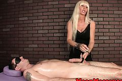 CBT handjob Session Given by Busty Cougar