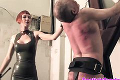 Redhead Latex Domina gives jailed sub CP