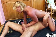 Horny Blonde Milf Banging a Huge cock