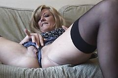 Big taco Blonde In Stockings close Up