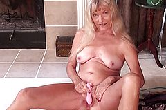 Bony Grandmother Jerked with Fuck stick