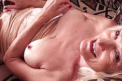 Bony Grandmother tugging with Faux cock