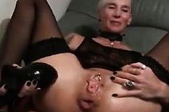 Mature slut in Stockings uses Sex Toys