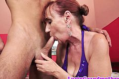 Redhead grandma Received Cum in Mouth