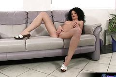 Curly Haired Chick Rony having fun Solo