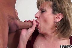 Unfaithful english Milf Lady Sonia Flaunts her gigantic jugs