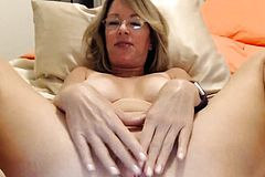Busty Blonde Milf Enjoying Her Dark Long Dildo